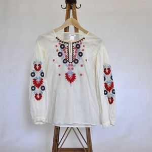 esley white embroider tunic size small